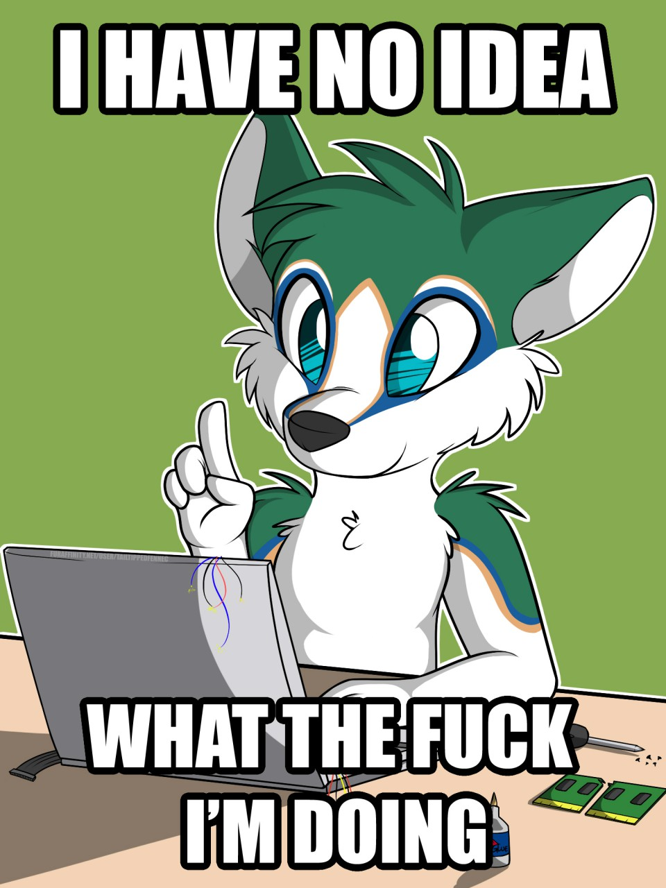 e926 2014 4_fingers anthro black_nose blue_eyes blue_fur canine computer cute derailed_train_of_comments disassembling dog doing_it_wrong english_text fur glue green_background green_fur hi_res humor husky image_macro lol_comments male mammal meme multicolored_fur nekohaiku nude playful profanity reaction_image screwdriver simple_background sitting smile solo table tailtippedfennec text tools watermark white_fur wire yellow_fur