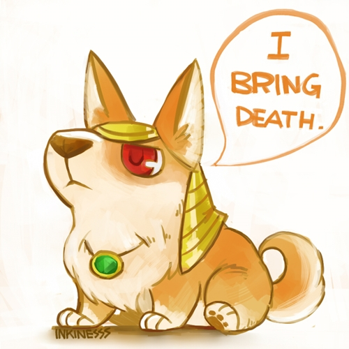 e926 2013 ambiguous_gender canine corgi cute dialogue dog english_text feral gem hat headdress inkinesss jewelry league_of_legends lol_comments low_res mammal nasus_(lol) pendant reaction_image red_eyes riot_games simple_background sitting solo speech_bubble text video_games white_background