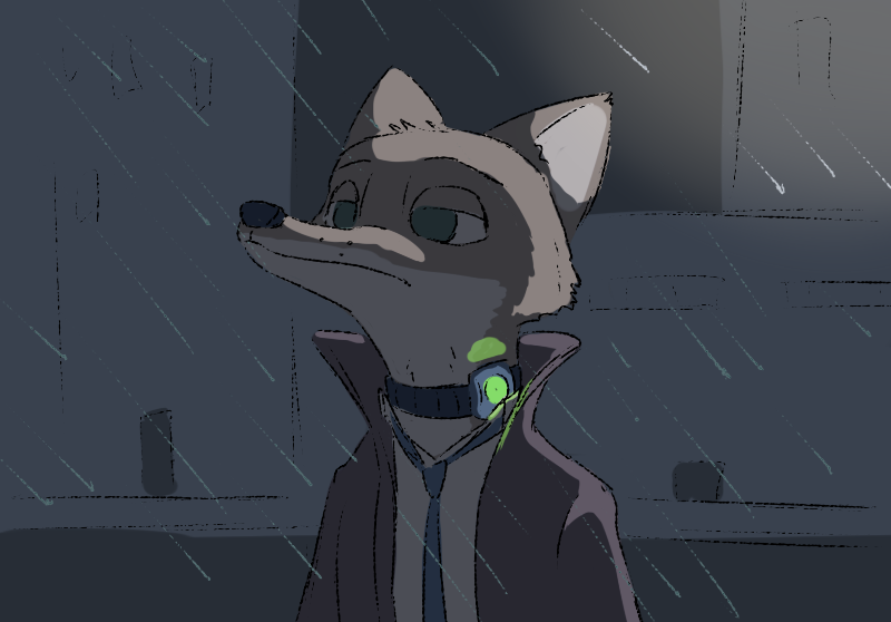 e926 2018 anthro canine clothed clothing collar disney fox green_eyes male mammal necktie nick_wilde outside raining shock_collar solo tggeko zootopia