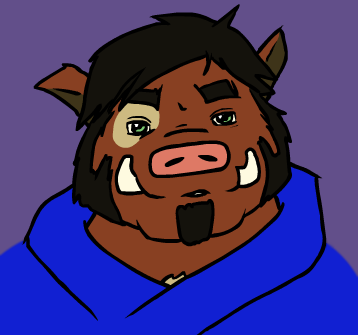 e926 anthro black_hair boar bojog bust_portrait clothed clothing facial_hair hair low_res male mammal pig porcine portrait rowan_(bojog) solo tusks