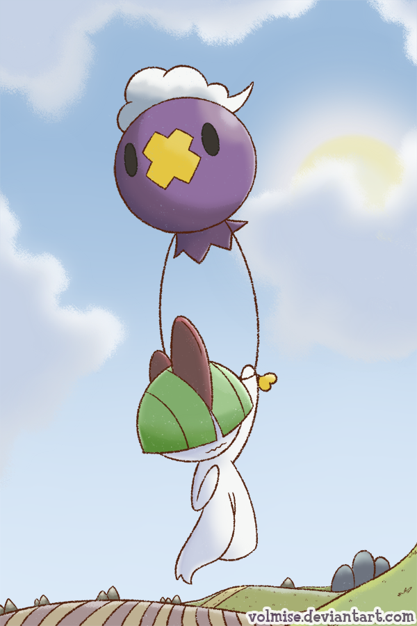 e926 2014 black_eyes carrying digital_drawing_(artwork) digital_media_(artwork) drifloon duo field floating green_hair hair horn nintendo pokémon purple_body ralts red_horn scared sky troubled url video_games volmise white_skin