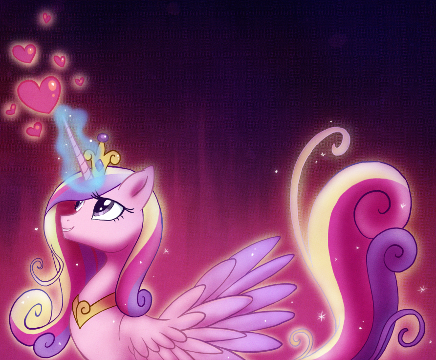 e926 2012 <3 abstract_background crown equine feathered_wings feathers female feral friendship_is_magic glowing hair horn jewelry magic mammal multicolored_hair my_little_pony necklace pink_feathers princess_cadance_(mlp) saphamia simple_background solo winged_unicorn wings