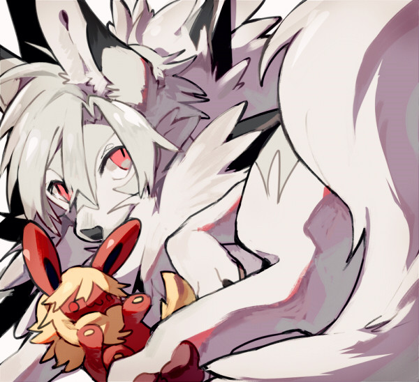 e926 ambiguous_gender canine eeveelution feral flareon fur hair looking_at_viewer lycanroc mammal midday_lycanroc nintendo plushie pokémon pokémon_(species) solo video_games yata