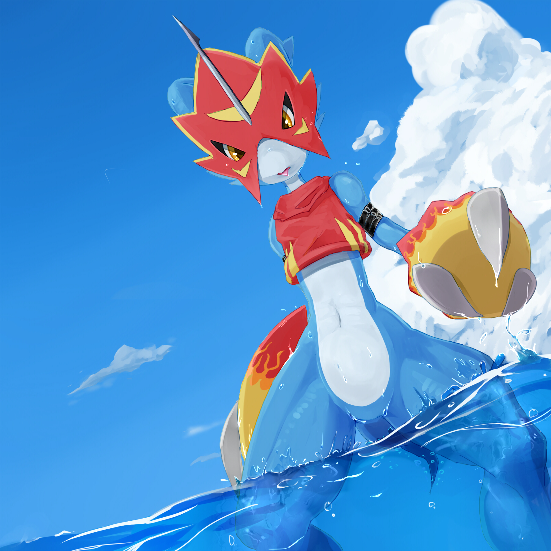 e926 2012 amber_eyes ambiguous_gender anthro armor blue_body claws clothed clothing cloud digimon flamedramon furukara helmet hi_res looking_at_viewer navel outside sky solo spread_legs spreading standing tongue tongue_out topless water wet white_body