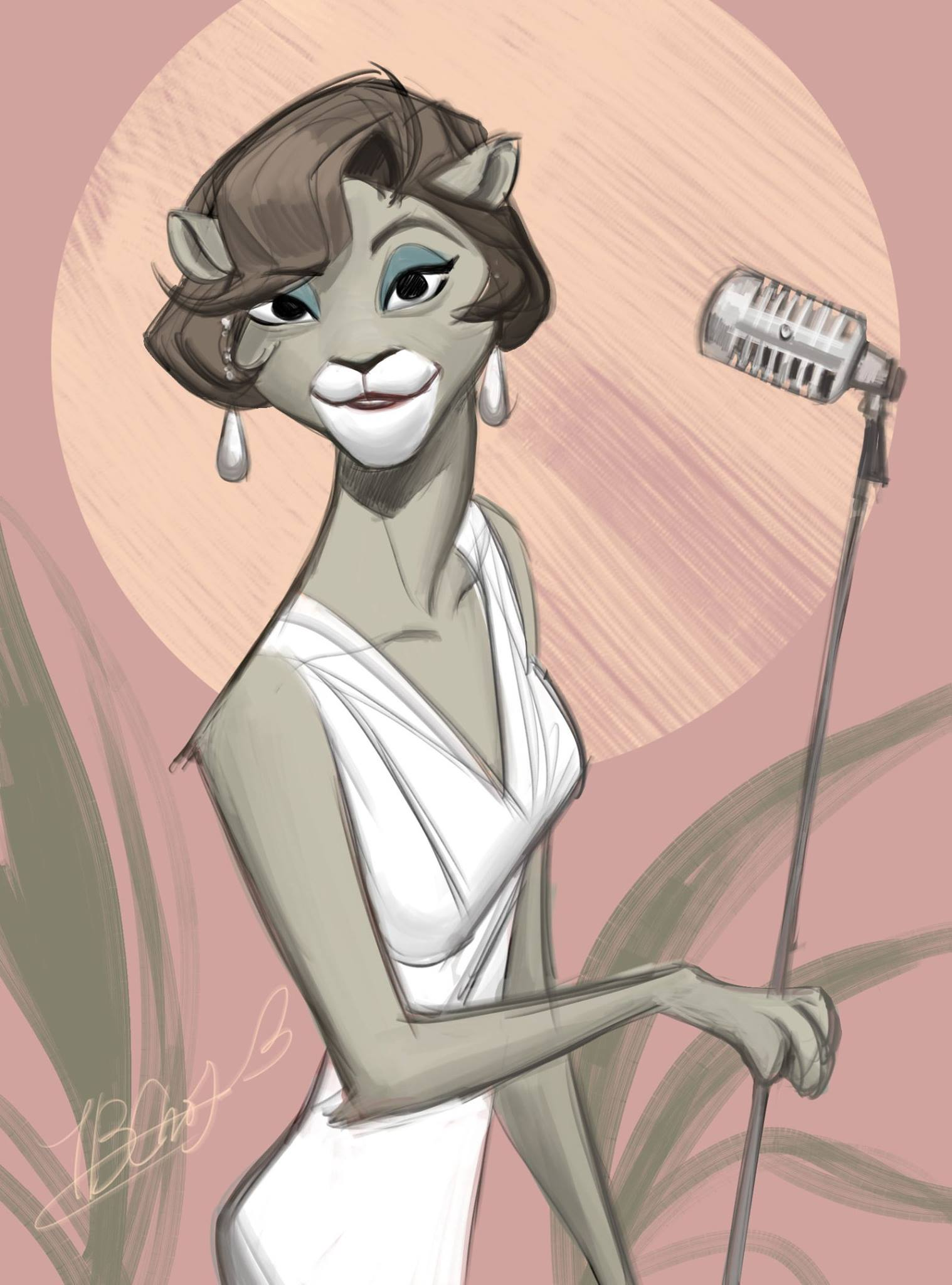 e926 anthro black_eyes brown_hair cat clothing digital_media_(artwork) dress feline female fur grey_fur hair hi_res holding_microphone jewelry looking_at_viewer mammal microphone signature simple_background smile snout solo tb_choi teeth