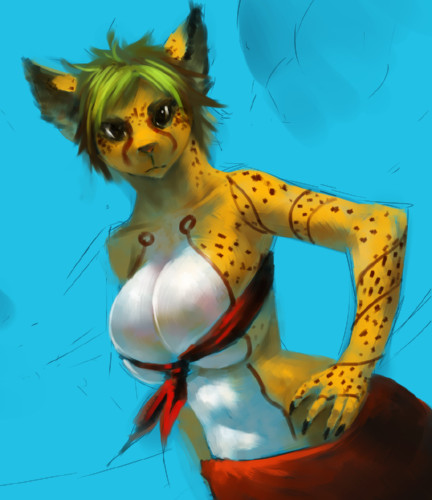 e926 anthro big_breasts breasts cat cheetah cleavage clothed clothing feline female hair huge_breasts looking_at_viewer low_res mammal midriff myojinius shirt short_hair skimpy solo standing tattoo tied_shirt tube_top