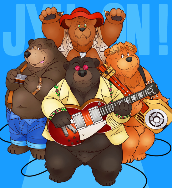 e926 2008 anthro bear belly blue_background brown_fur clothing eyewear fur glasses group guitar hat male mammal musical_instrument norataro overweight overweight_male pants shirt simple_background the_country_bears
