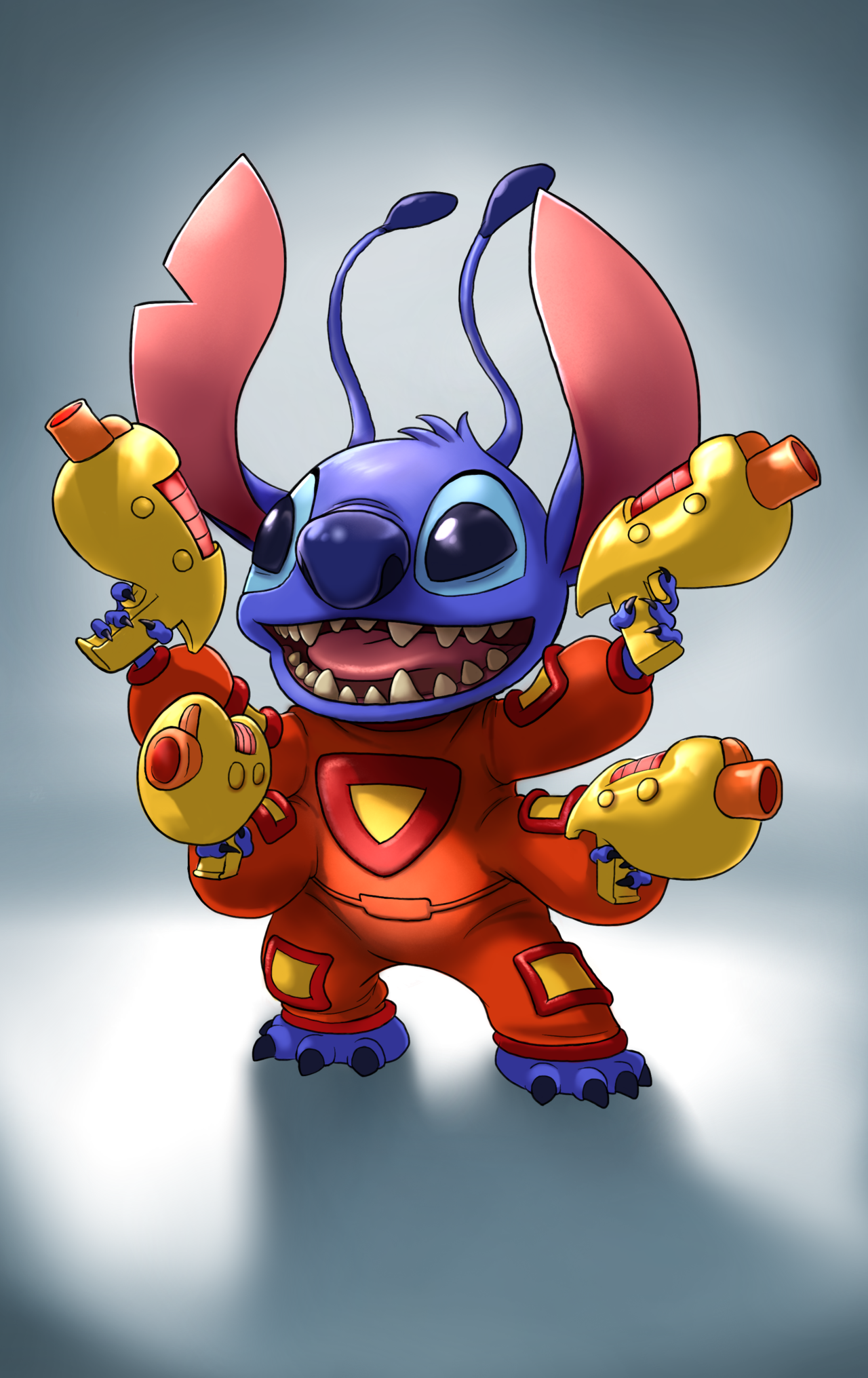 e926 2014 4_arms 4_fingers 4_toes alien antennae blue_claws blue_eyes blue_fur blue_nose claws clothed clothing digital_media_(artwork) dipstick_antennae disney experiment_(species) full-length_portrait fur head_tuft hi_res holding_object holding_weapon lilo_and_stitch multi_arm multi_limb multi_wielding notched_ear open_mouth open_smile otherworldmedia plasma_rifle portrait simple_background smile solo spacesuit standing stitch toe_claws toes toony tuft weapon