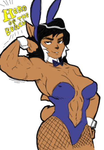 e926 anthro breasts bunny_costume cat cleavage clothed clothing costume felina_feral feline female looking_at_viewer mammal muscular muscular_female skimpy solo swat_kats terrible_the_drawfag