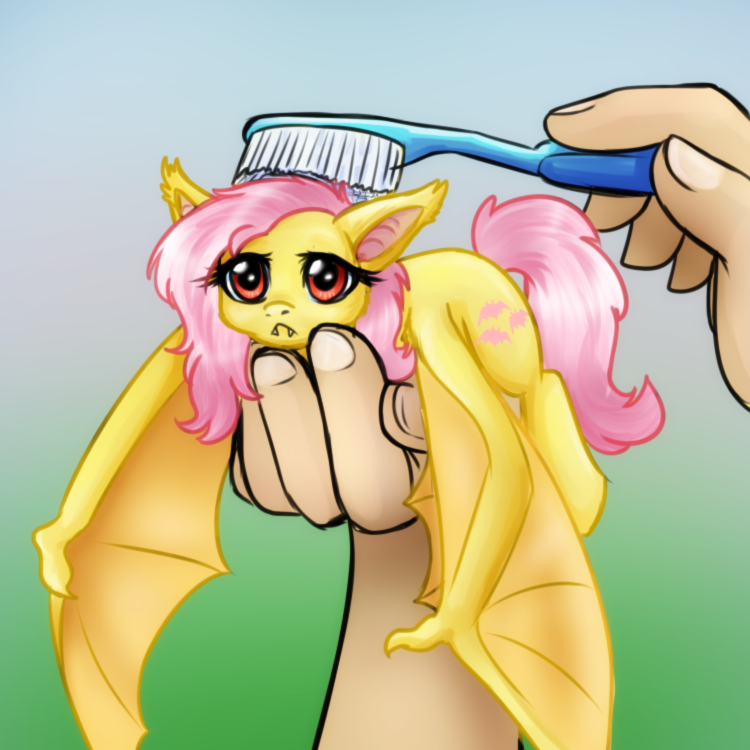 e926 2013 balddumborat bat bat_pony bat_wings brushie_brushie_brushie cute cutie_mark disembodied_hand duo equine fangs female feral flutterbat_(mlp) fluttershy_(mlp) friendship_is_magic gradient_background hair holding_character holding_object human hybrid long_hair looking_at_viewer mammal membranous_wings meme my_little_pony nude pink_hair realistic_wings red_eyes simple_background solo_focus toothbrush unimpressed wings