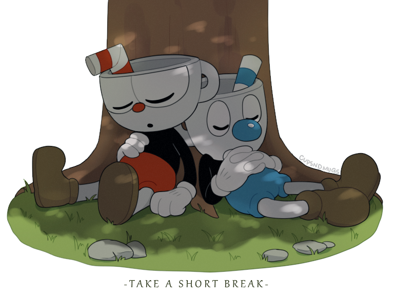 e926 2017 animate_inanimate clothing cuphead_(character) cuphead_(game) cupsndmugs duo english_text eyes_closed footwear gloves grass humanoid male mugman not_furry object_head sibling sleeping text video_games