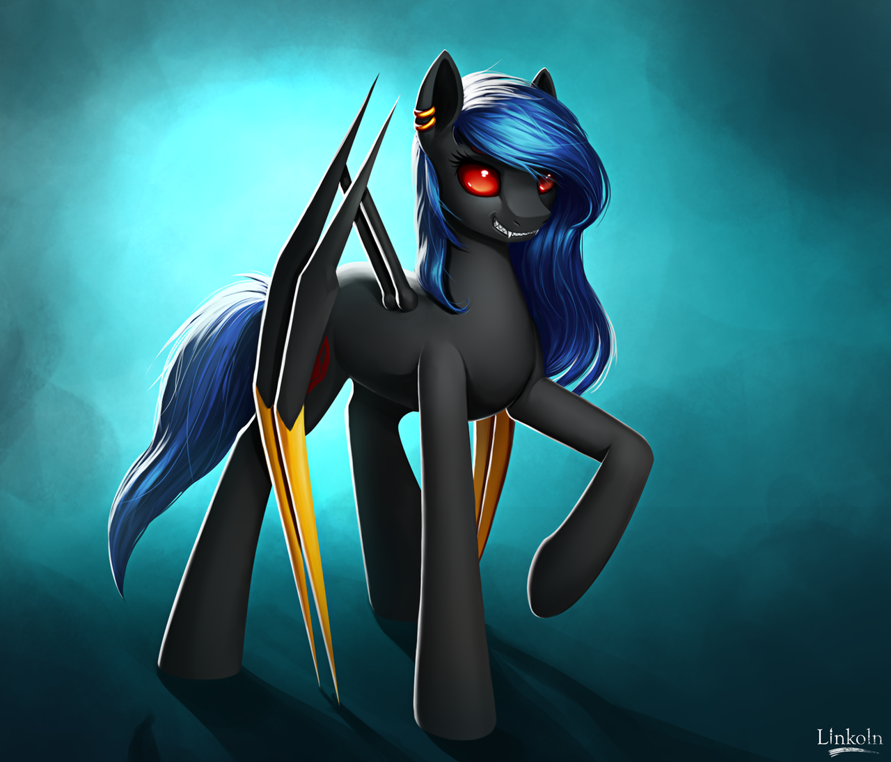 e926 blue_hair ear_piercing equine eyelashes fan_character feral gradient_background hair hooves hybrid l1nkoln mammal my_little_pony piercing red_eyes simple_background solo standing