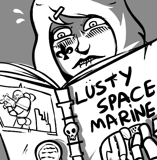 e926 armor blush book butt female horny_(disambiguation) human looking_down male mammal not_furry pornography reaction_image reading sister_of_battle skull solo space_marine unknown_artist warhammer_(franchise) warhammer_40000