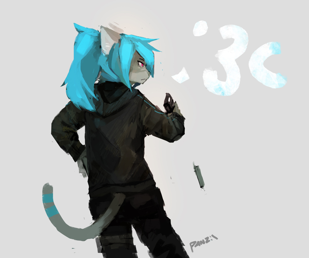 e926 2017 anthro blue_hair cat clothed clothing feline female grey_background gun hair handgun holding_object holding_weapon hoodie kei_(glacierponi) mammal panzery25 pistol ranged_weapon rear_view red_eyes reloading signature simple_background solo weapon