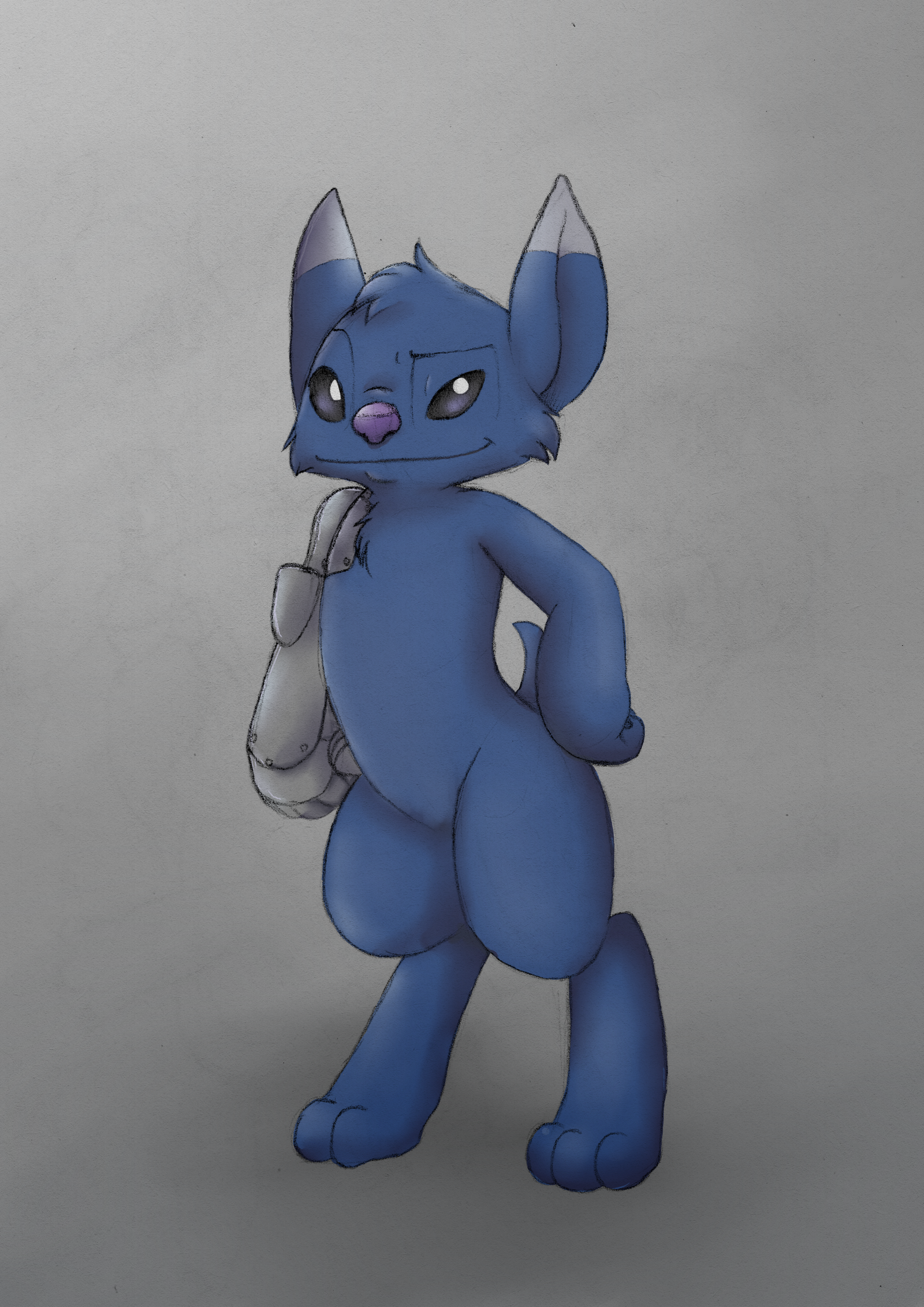 e926 2016 3_toes alien black_eyes blue_fur cheek_tuft chest_tuft cybernetic_arm digital_media_(artwork) dipstick_ears disney experiment_(species) fan_character fur head_tuft hi_res jack_(veggiebad) lilo_and_stitch mixed_media pencil_(artwork) purple_nose raised_eyebrow short_tail simple_background smile solo solosandwich standing toes traditional_media_(artwork) tuft white_pupils