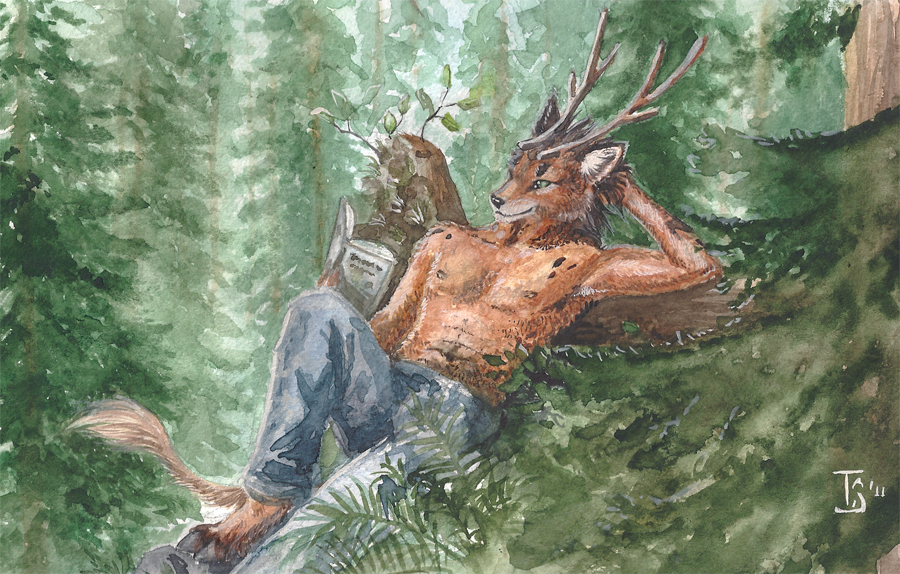 e926 2011 anthro antlers brown_fur cervine clothed clothing day deer detailed_background fur hooves horn male mammal outside smile solo topless traditional_media_(artwork) tree ts-cat