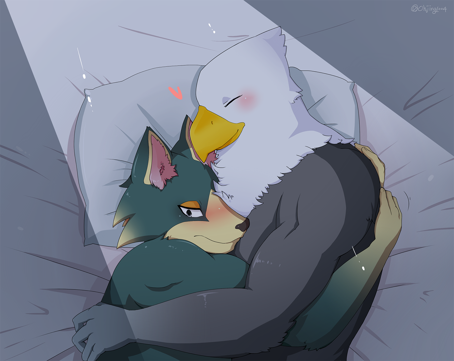 e926 animal_crossing anthro apollo_(animal_crossing) avian bald_eagle bedroom bird blush canine duo eagle hug male male/male mammal nintendo ohjing1004 video_games wolf wolfgang_(animal_crossing) yeonok104