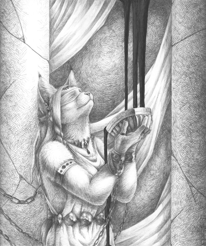 e926 abstract_background anthro belt blindfold braided_hair cat chain clothed clothing cup drapes ears_up feline female hair holding_object inside jewelry looking_up mammal monochrome necklace pan_hesekiel_shiroi pencil_(artwork) restraints robe solo standing traditional_media_(artwork)