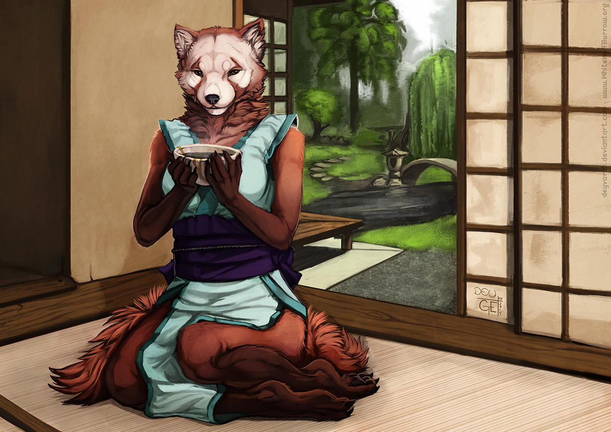 e926 anthro blue_dress bridge brown_fur c.t.elder clothed clothing creek cup detailed_background deyvarah dress facial_markings female fog fur garden ginny_(sf) holding_object inner_ear_fluff inside looking_at_viewer mammal markings red_panda sash semper_fidelis sitting solo tree white_fur