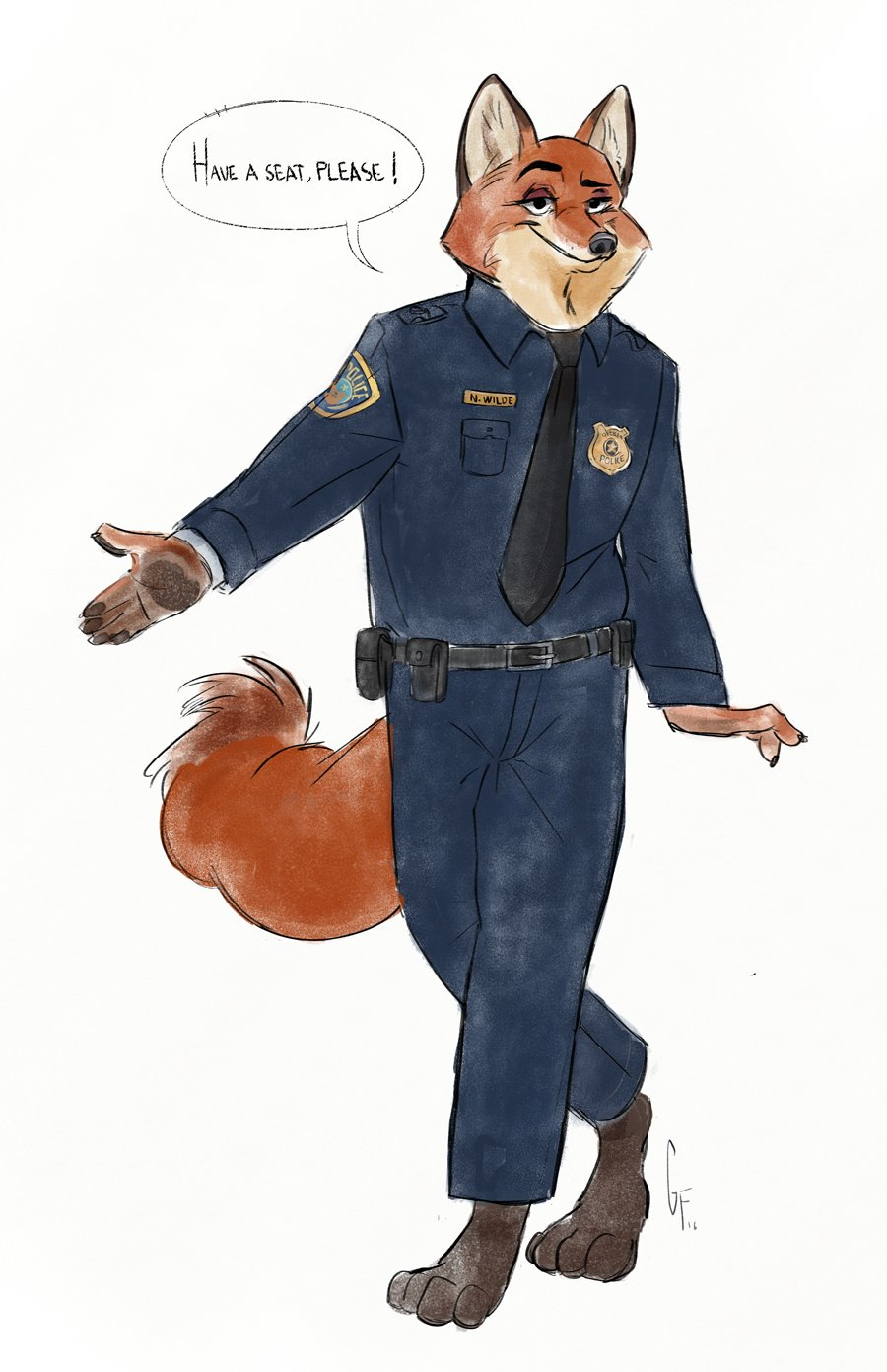 e926 anthro canine clothed clothing disney fox fur gamutfeathers hi_res male mammal nick_wilde police_uniform simple_background solo uniform white_background zootopia