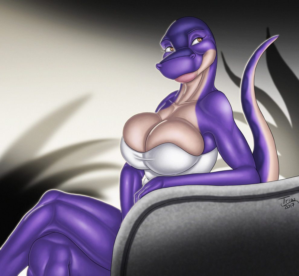 e926 anthro big_breasts breast_squish breasts clothed clothing delilah_(trias) dinosaur female pinup pose scalie soft solo theropod trias tyrannosaurus_rex