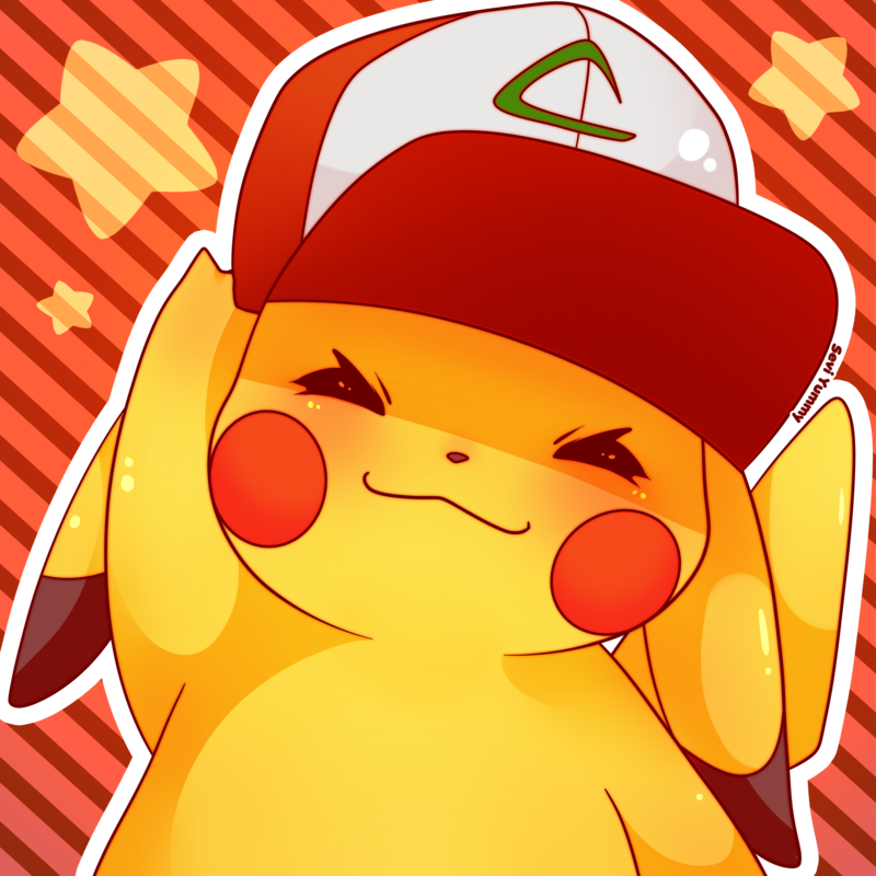 e926 ambiguous_gender black_nose blush clothing dipstick_ears eyes_closed hat nintendo pikachu pokémon pokémon_(species) seviyummy signature smile solo video_games
