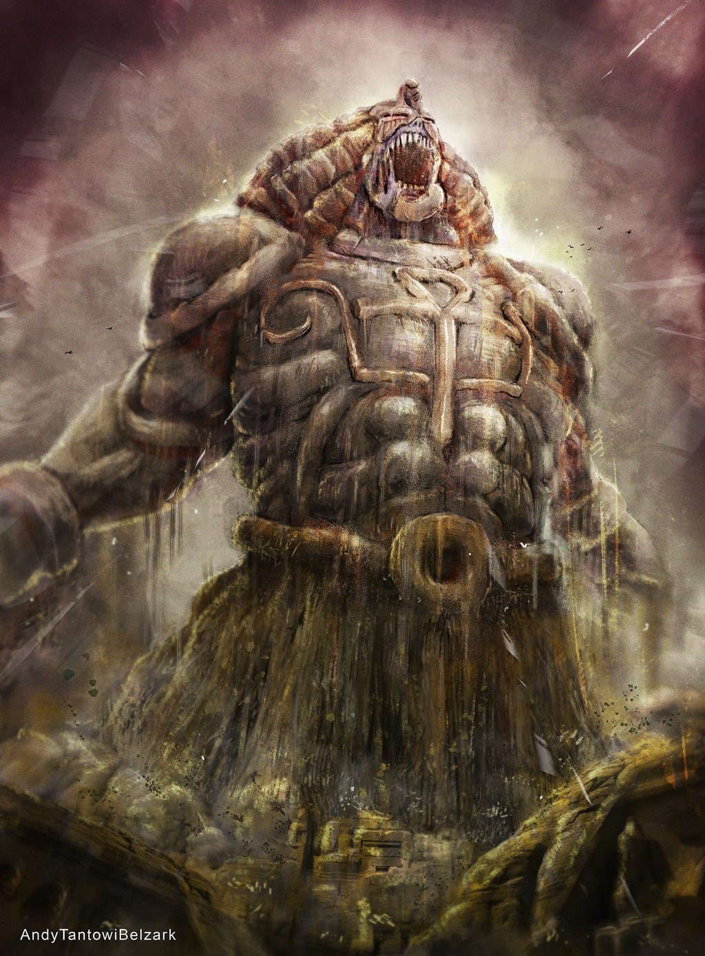 e926 abs ambiguous_gender andybelzark ankh egyptian_clothing exodia front_view headdress hi_res humanoid macro muscular not_furry open_mouth roaring ruins sharp_teeth solo stone teeth yu-gi-oh