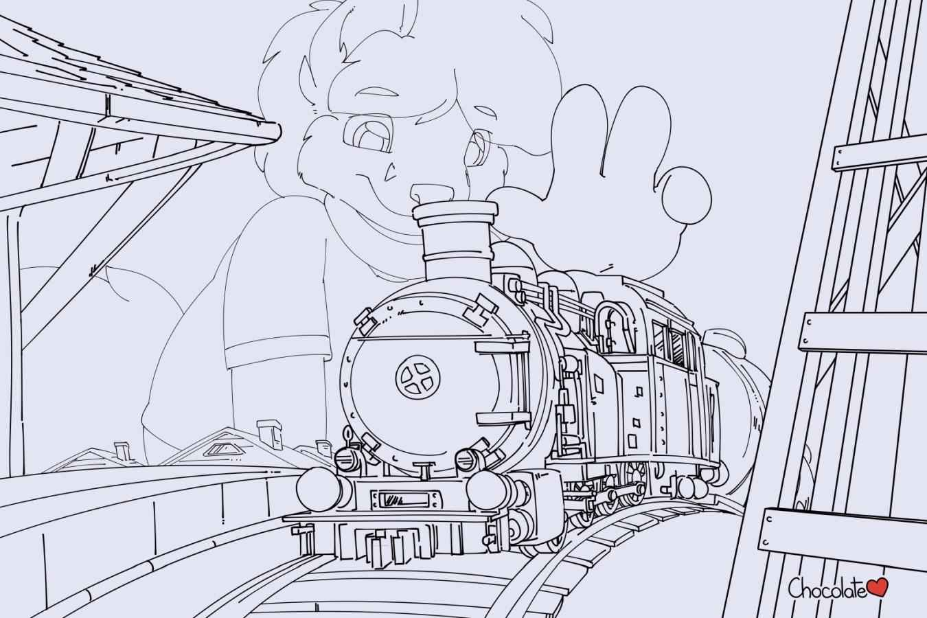 e926 anthro austin canine chocolatekitsune forced_perspective fox locomotive macro mammal solo steam_locomotive toy toy_train train vehicle