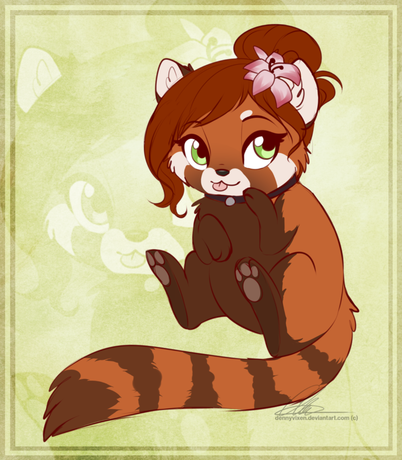 e926 2017 collar cute dennyvixen female feral flower flower_in_hair green_eyes hair mammal pawpads plant red_hair red_panda solo tongue tongue_out zoom_layer