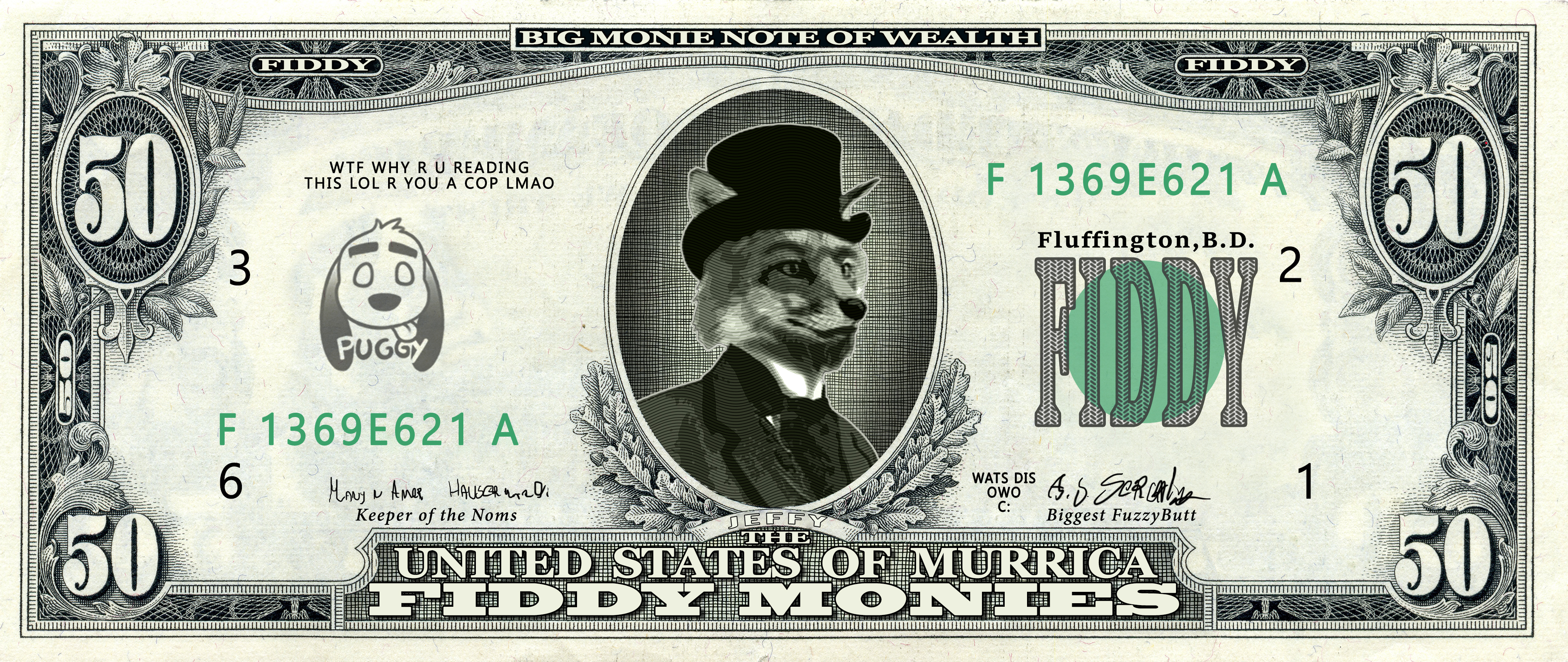 e926 anthro canine classy clothed clothing english_text fox fur hat headgear hi_res male mammal money necktie number puggy solo suit text top_hat