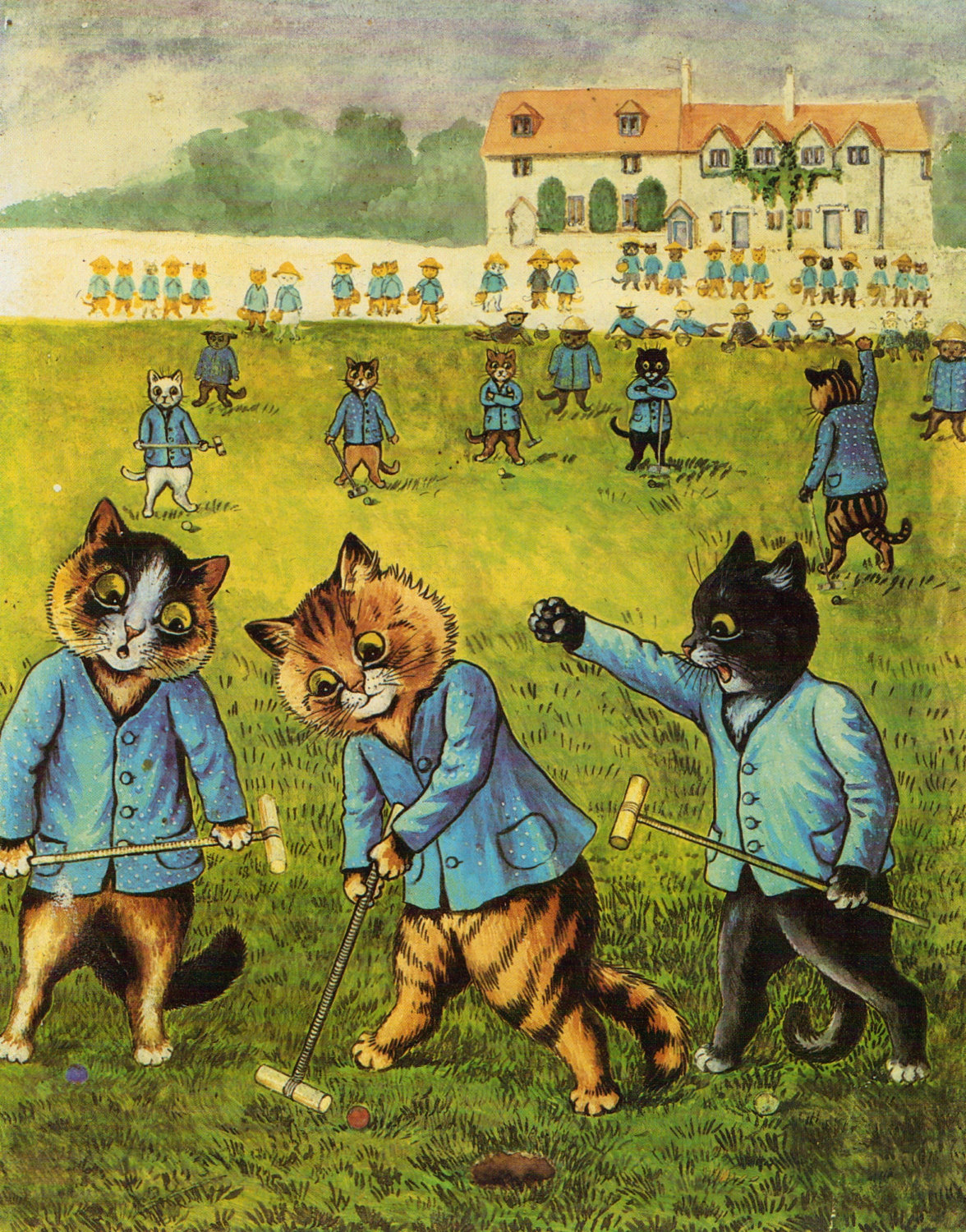 e926 ambiguous_gender anthro ball barefoot biped black_fur bottomless brown_fur building cat clothed clothing croquet croquet_mallet crossed_arms crowd detailed_background digitigrade feline fur grass grey_pawpads group hammer hat hi_res holding_object hole_(pit) license_info looking_down louis_wain mammal mixed_media open_mouth outside painting_(artwork) pawpads public_domain raised_arm reclining semi-anthro sky sport standing striped_fur stripes tools traditional_media_(artwork) watercolor_(artwork) whiskers white_fur yellow_eyes