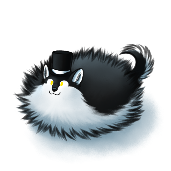 e926 2016 :3 black_fur black_nose canine cute digital_media_(artwork) dog feral fluffy fur hat husky male mammal multicolored_fur poof ratte simple_background smile solo thehuskyk9 top_hat two_tone_fur white_background white_fur yellow_eyes