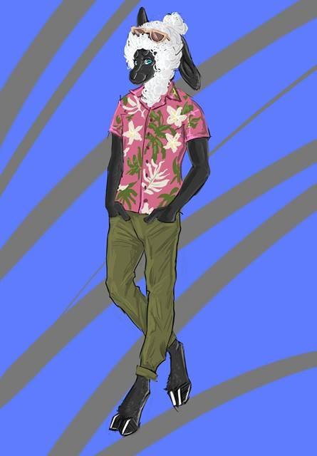 e926 caprine clothing eyewear hawaiian male mammal ponytail sheep shirt solo sunglasses wool