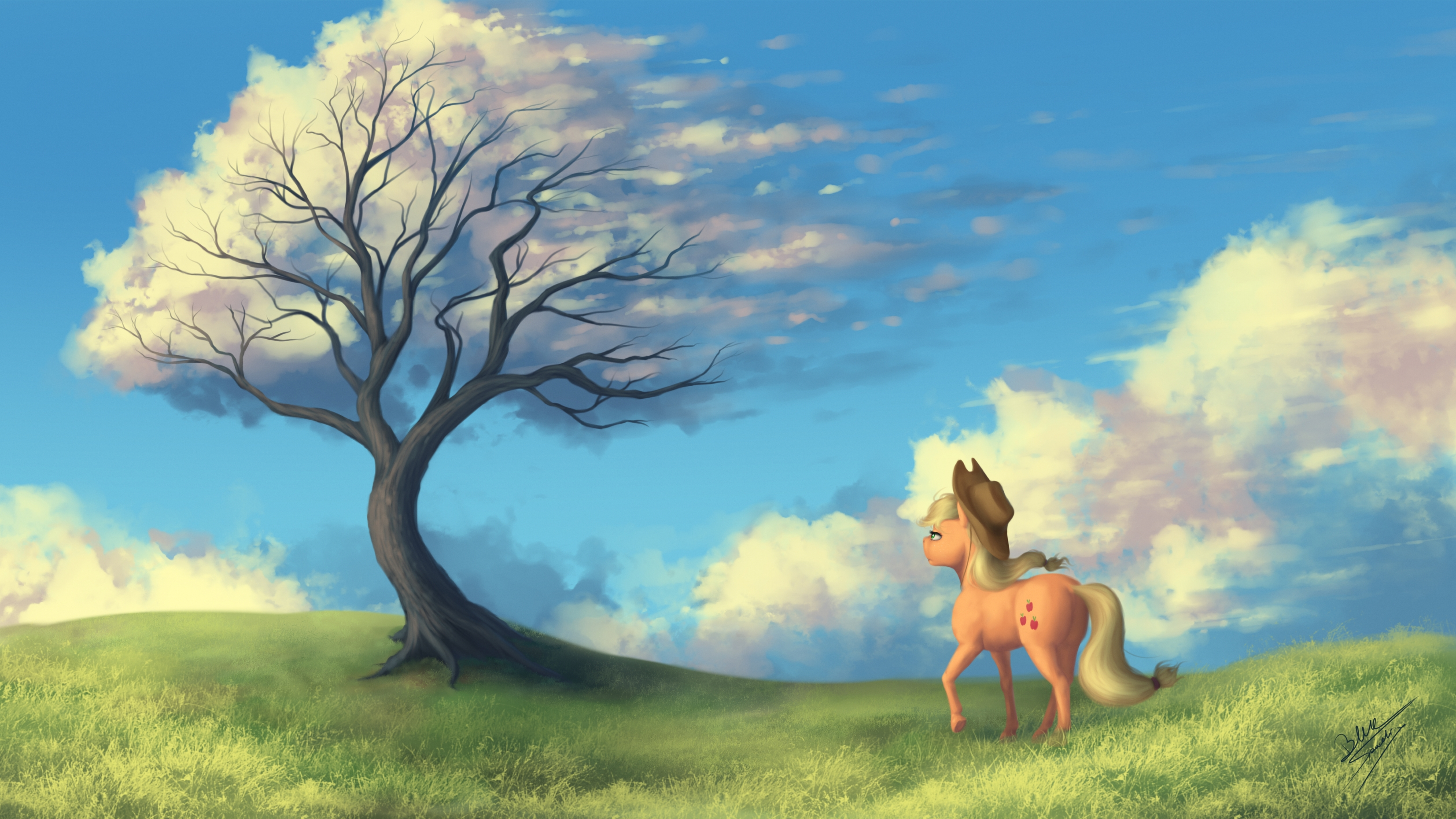 e926 2017 absurd_res applejack_(mlp) blonde_hair bluespaceling cutie_mark detailed_background digital_media_(artwork) equine friendship_is_magic grass hair hat hi_res hooves horse mammal my_little_pony outside pony sky tree