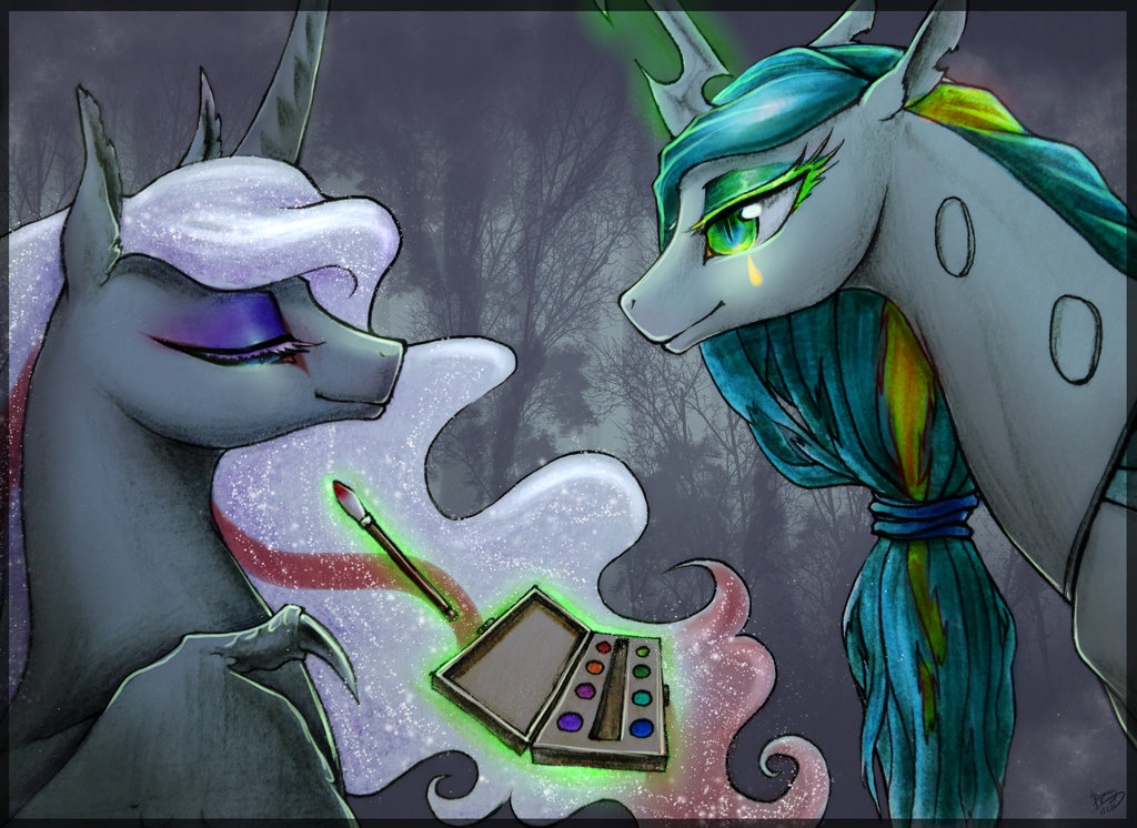 e926 2017 begasuslu changeling duo equine female feral forest friendship_is_magic green_eyes green_hair grey_hair hair horn magic makeup mammal my_little_pony nightmare_moon_(mlp) outside queen_chrysalis_(mlp) slit_pupils smile tree winged_unicorn wings