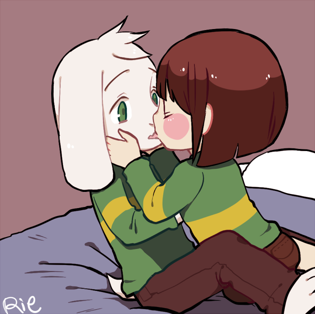 e926 2016 ambiguous_gender anthro asriel_dreemurr bed blush boss_monster brown_hair brown_pants caprine chara_(undertale) child clothed clothing cub duo fur goat green_eyes hair hands_on_cheeks human kissing long_ears male mammal rie_(artist) short_hair simple_background undertale video_games white_fur young