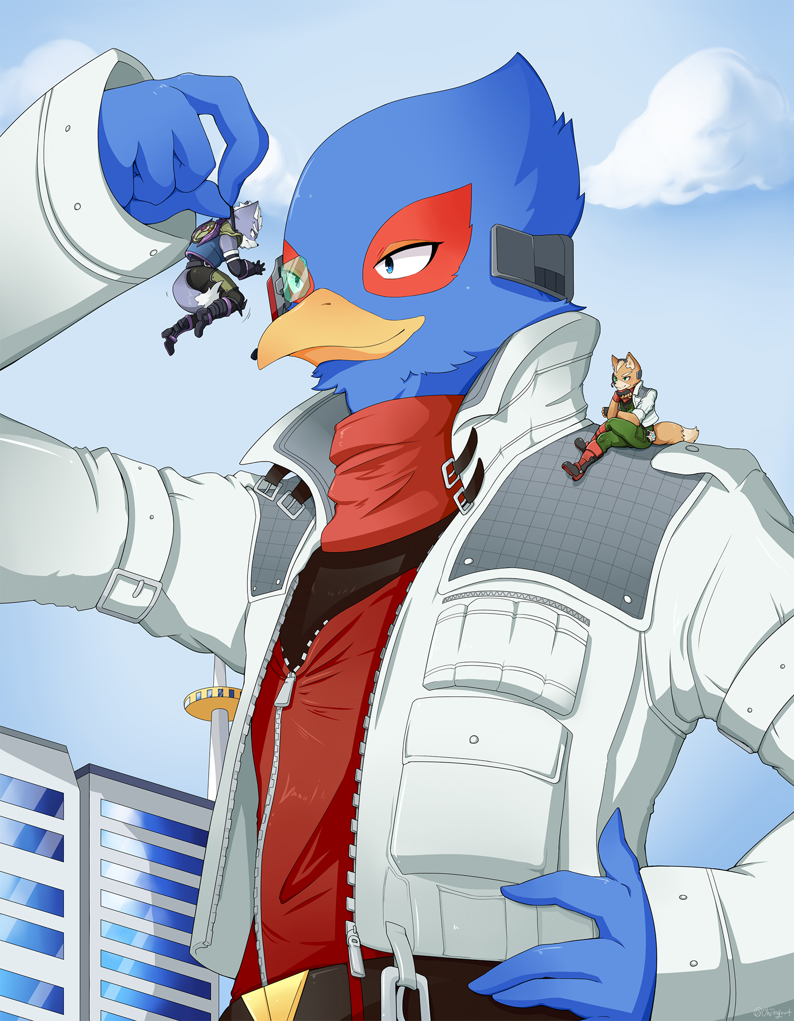 e926 anthro avian bird building canine clothed clothing falco_lombardi fox fox_mccloud grabbing group hi_res macro male mammal nintendo ohjing1004 star_fox video_games wolf wolf_o'donnell