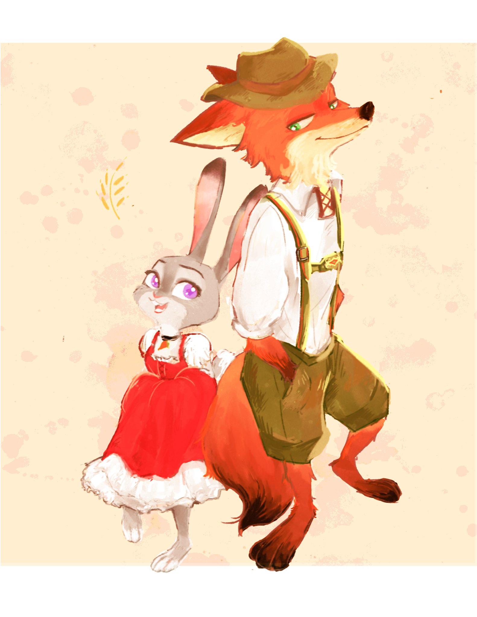 e926 2017 anthro barefoot canine clothed clothing disney duo female fox fur hi_res judy_hopps kabe2mugi lagomorph male mammal nick_wilde rabbit simple_background zootopia