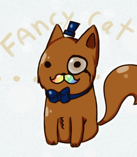 e926 all_fours ambiguous_gender bow_tie brown_tail cat classy eyewear facial_hair feline fluffy fluffy_tail hair hat mammal monocle multicolored_hair mustache nada1ai_(artist) top_hat