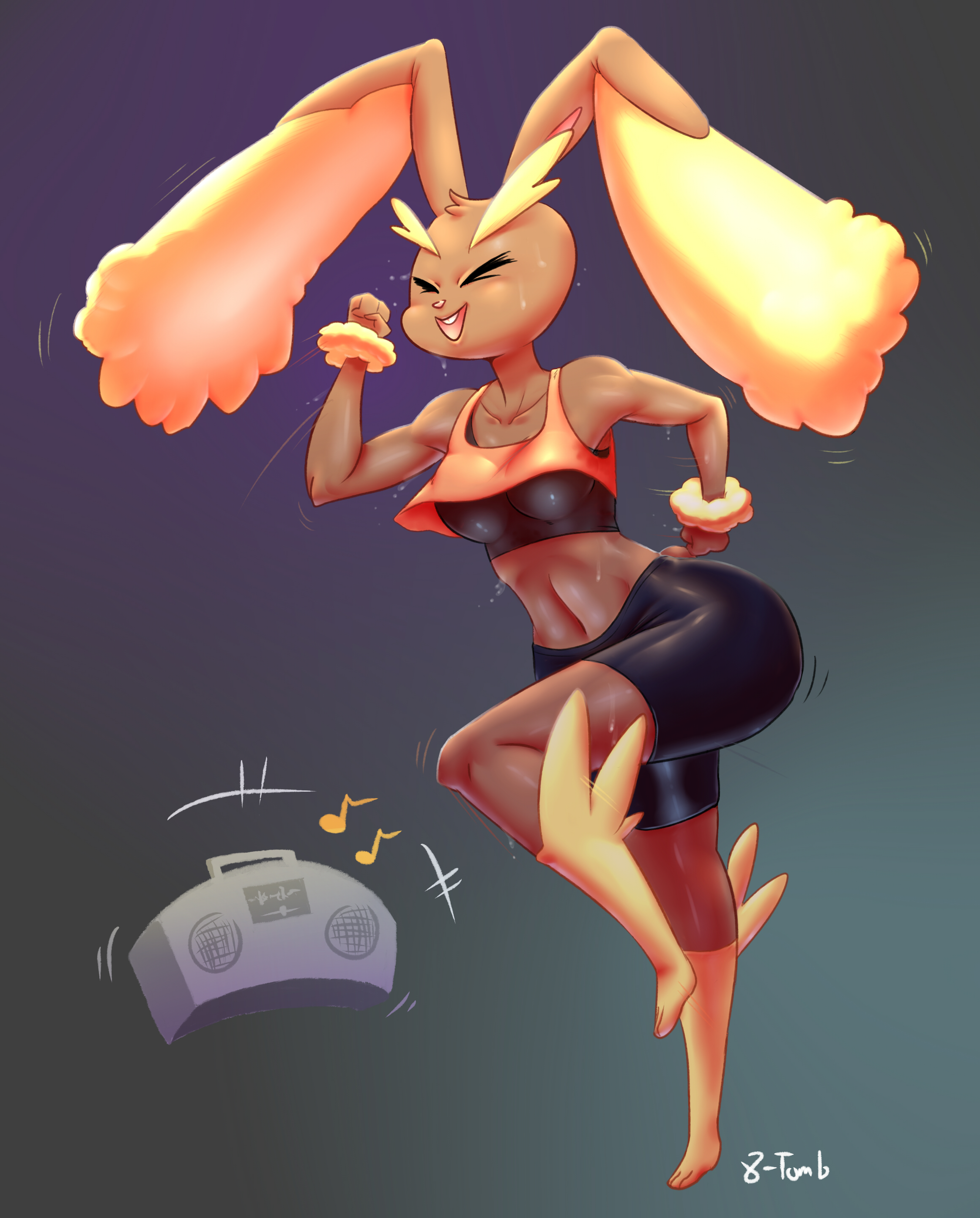 e926 2015 absurd_res anthro breasts brown_fur clothing exercise eyes_closed female fur hi_res lagomorph lopunny ltomb mammal midriff musical_note nintendo open_mouth open_smile pokémon pokémon_(species) pokémorph pseudo_clothing radio smile solo sweat video_games