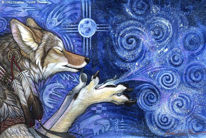 e926 2002 ambiguous_gender anthro biped black_claws black_nose blowing blue_background canine claws coyote dreamcatcher eyes_closed feathers full_moon fur grey_fur inner_ear_fluff kyoht_luterman mammal moon native_american simple_background solo spiral star