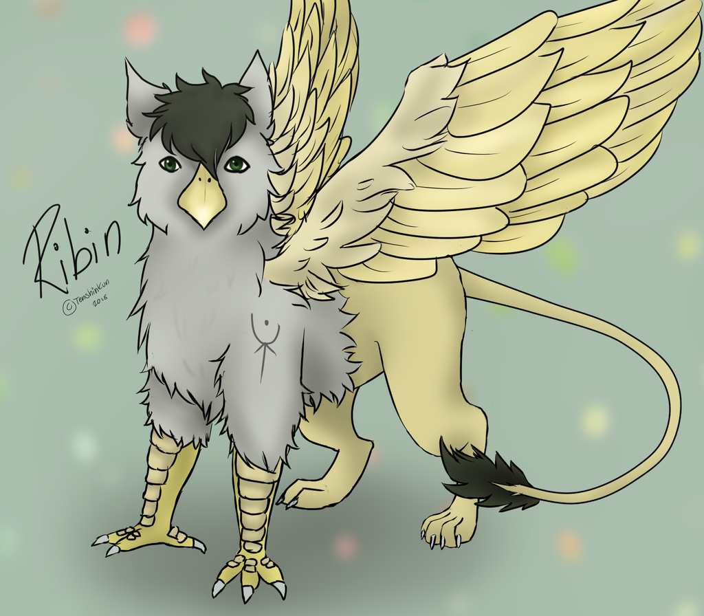 e926 avian beak digital_media_(artwork) drawing fantasy feral form gryphon male ribin solo standing stare tattoo tenshinkun