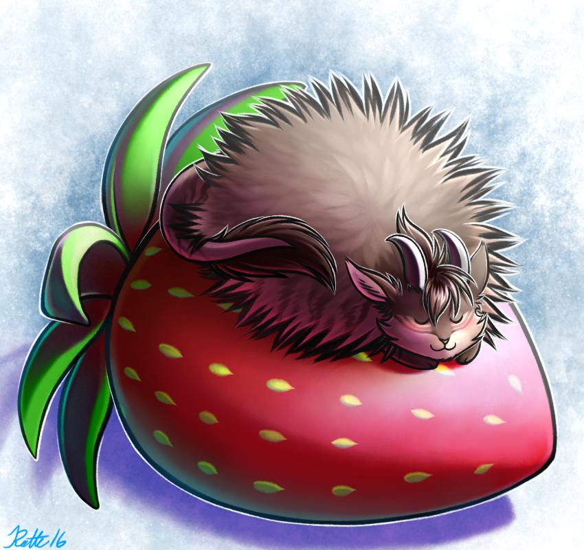 e926 2016 abstract_background ambiguous_gender blush feral food fruit horn poof ratte ratteguhn ratteguhncat sleeping smile solo strawberry theta_(ratte)