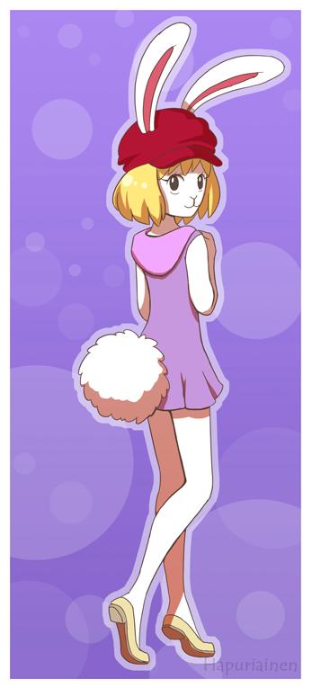 e926 anthro blonde_hair carrot_(one_piece) clothing dress female fur hair hat lagomorph looking_back mammal minkmen_(one_piece) mokomodukedom one_piece rabbit smile solo white_fur