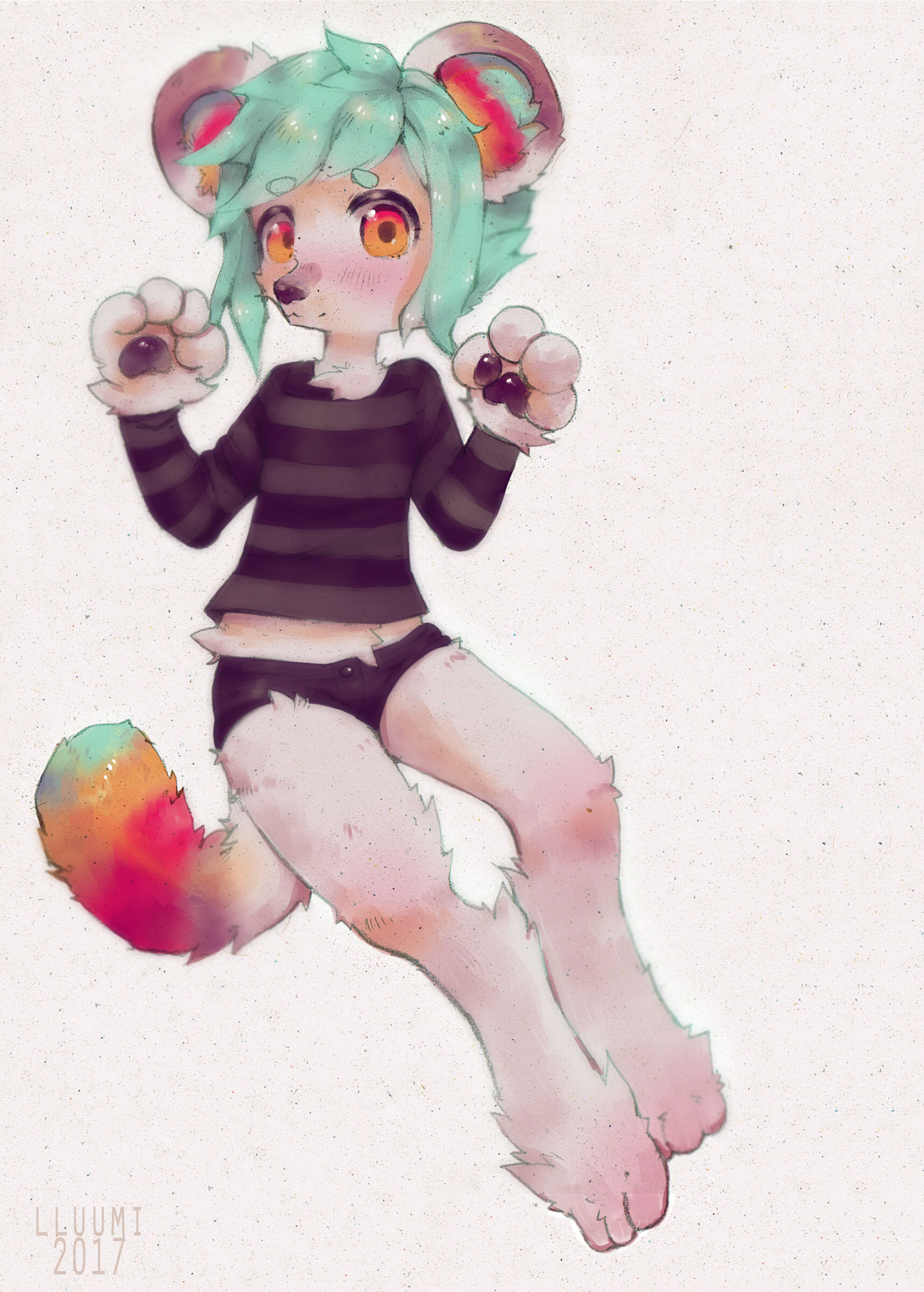 e926 big_feet clothed clothing coloured_hair fluffy fluffy_tail kemono lluumi paws solo striped_shirt