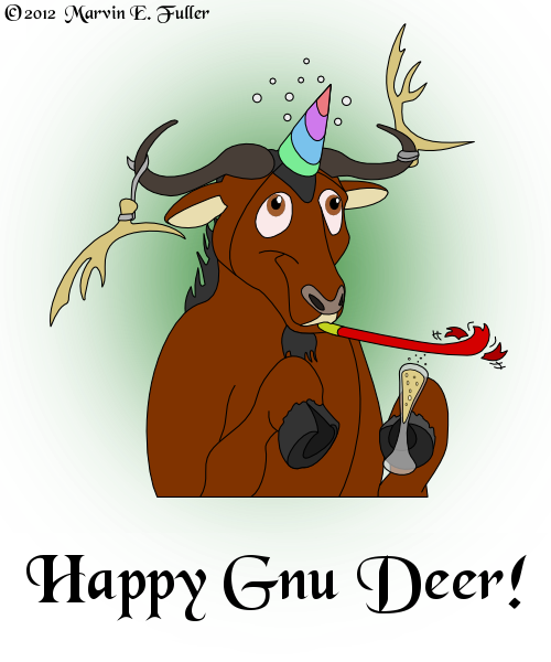 e926 2012 alcohol ambiguous_gender antelope antlers beverage brown_eyes champagne cybercorn_entropic english_text food glass gnu hat holidays hooves horn humor mammal new_year party_hat party_horn pun solo tape text