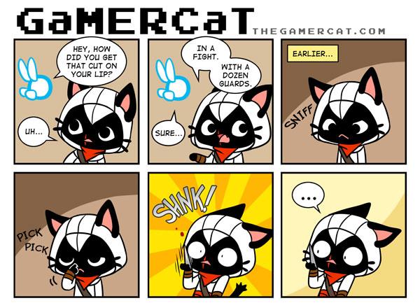 e926 assassin's_creed blood cat celesse cute dialogue english_text fairy feline female gamercat_(character) mammal navi nintendo ocarina_of_time samantha_whitten text the_gamercat the_legend_of_zelda video_games