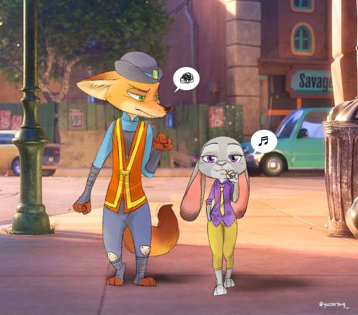 e926 2017 anthro black_nose canine clothed clothing disney duo female fox fur green_eyes grey_fur hat judy_hopps lagomorph male mammal necktie nick_wilde orange_fur outside pink_nose police_uniform purple_eyes rabbit simple_background uniform yusarang zootopia
