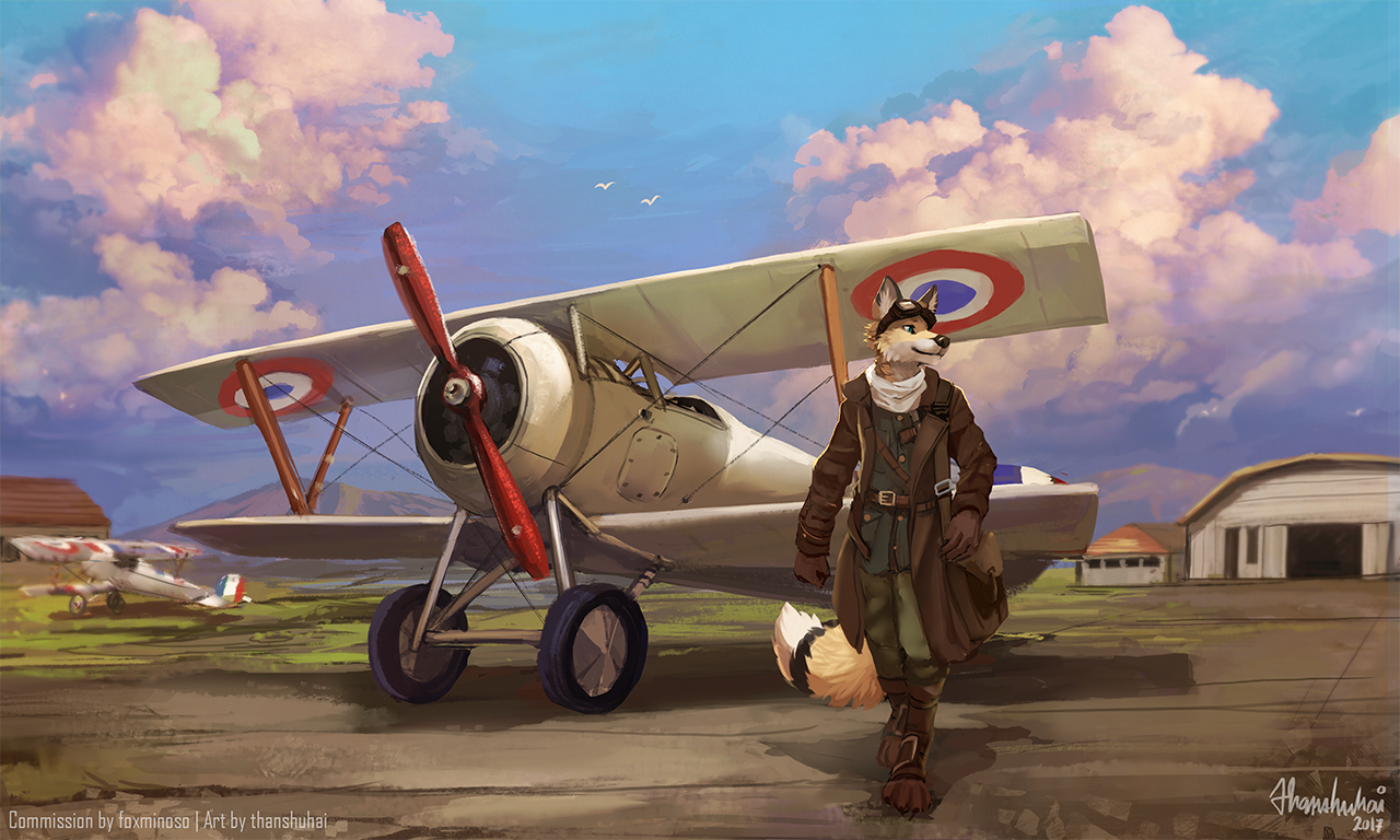 e926 2017 aircraft anthro black_nose canine clothed clothing day detailed_background digital_media_(artwork) dipstick_tail fox mammal multicolored_tail outside sky smile stanidng thanshuhai