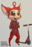 anthro big_eyes chibi clothed clothing diadorin male open_mouth scooter smile solo standing unknown_species